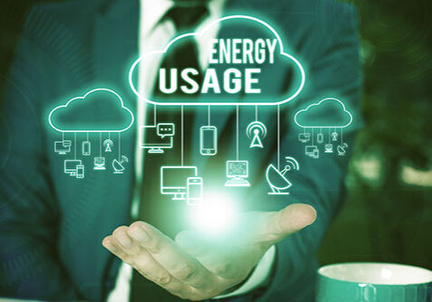 Writing note showing Energy Usage. Business concept for Amount of energy consumed or used in a process or system Male wear formal work suit presenting presentation smart device
