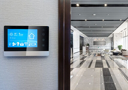 smart screen on wall with spacious hall in modern office building
